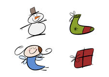 Colorful christmas doodles. Set of four colorful doodle drawings including snowman, christmas stocking, angel girl and gift package Royalty Free Stock Photos