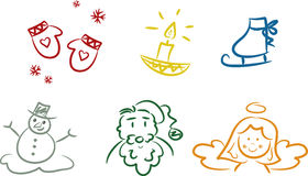 Colorful Christmas Doodles Stock Photos