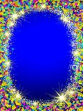 Colorful Christmas frame . Christmas frame from colorful bokeh background and stars Stock Photography