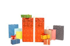 Colorful christmas gift boxes, isolated. On white royalty free stock photos