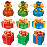 Colorful Christmas gifts Stock Images