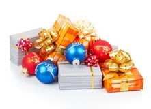 Colorful christmas gifts and blue, red balls Stock Images