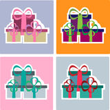 Colorful Christmas gifts set Royalty Free Stock Images