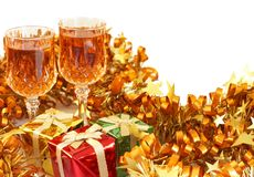 Colorful Christmas gifts and sherry Royalty Free Stock Photo