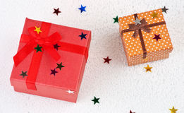 Colorful christmas gifts in snow Royalty Free Stock Photo