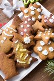 Colorful Christmas gingerbread cookies Royalty Free Stock Photos