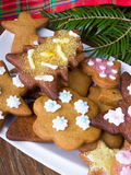 Colorful Christmas gingerbread cookies Stock Photo