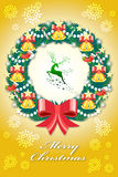 Colorful christmas greeting card in the badges Stock Images