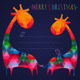 Colorful christmas greeting card with giraffes. Square compositi Royalty Free Stock Image