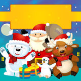 The colorful christmas - greeting card - illustration for the children Royalty Free Stock Photo