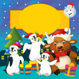 The colorful christmas - greeting card - illustration for the children Stock Photography