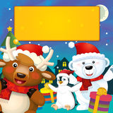 The colorful christmas - greeting card - illustration for the children Stock Photos