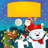The colorful christmas - greeting card - illustration for the children Royalty Free Stock Photography