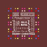 Colorful Christmas greeting card written in several languages German, brown color. A Vector Illustration