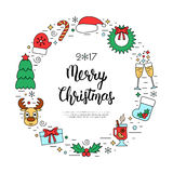 Colorful Christmas holidays frame with traditional attributes in line style with hand lettering inscription. Vector Stock Photography