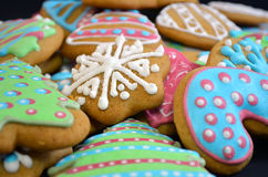 Colorful Christmas Homemade Gingerbread Cookies. Homemade christmas gingerbread cookies, with colored glaze decorations Stock Images