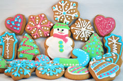 Colorful Christmas Homemade Gingerbread Cookies. Christmas Homemade Gingerbread Cookies in Different Shapes and Colours Royalty Free Stock Photo