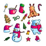 Colorful Christmas Icons In Set Royalty Free Stock Photos