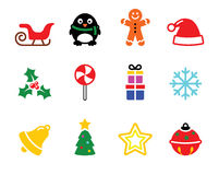Colorful Christmas icons set Stock Photo