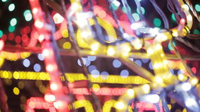 Colorful Christmas Illumination. Christmas garlands. Colorful Christmas Illumination. The Animated light bokeh stock footage