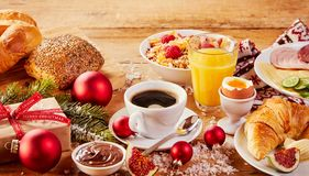 Colorful Christmas Intercontinental breakfast Stock Photo