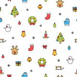 Colorful christmas items isolated on white background seamless pattern royalty free stock image