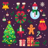 Colorful christmas items. Xmas stocking, garland lights for fir tree and Santa gifts. Winter holidays wreath decor vector illustration