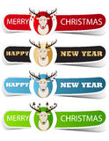 Colorful Christmas label with a deer. Vector illustration Royalty Free Stock Photo