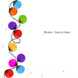 Colorful Christmas light bulb happy new year greeting card. Vector Royalty Free Stock Images
