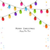 Colorful Christmas light bulb happy new year greeting card. Vector Stock Image