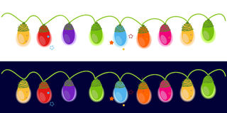 Colorful Christmas light bulb happy new year greeting card. Vector Stock Photography