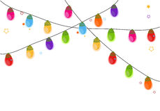 Colorful Christmas light bulb happy new year greeting card. Vector Royalty Free Stock Photos