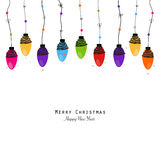 Colorful Christmas light bulb happy new year greeting card vector Stock Photo