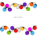 Colorful Christmas light bulb happy new year greeting card vector Royalty Free Stock Photos