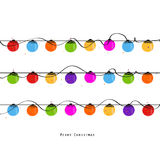Colorful Christmas light bulb new year greeting card vector Royalty Free Stock Image