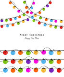 Colorful Christmas light bulb new year greeting card vector Royalty Free Stock Photography