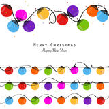 Colorful Christmas light bulb new year greeting card vector Stock Image