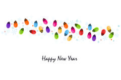 Colorful Christmas light bulb with snowflakes happy new year greeting card. Colorful Christmas light bulb circle happy new year greeting card vector Stock Photography