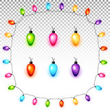 Colorful Christmas light bulbs on transparent background vector Stock Photo