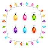 Colorful Christmas light bulbs vector Stock Images