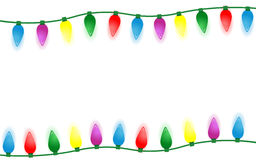 Colorful christmas lights border isolated on white background. Colorful christmas lights border isolated on black background design Stock Photography