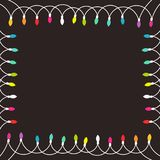 Colorful Christmas lights border. Vector illustration background Stock Images