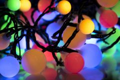Colorful Christmas lights Close up royalty free stock images