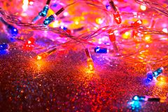 Colorful Christmas lights garland stock images