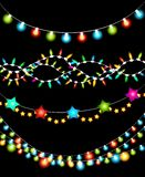 Colorful Christmas Lights Garlands Royalty Free Stock Photography