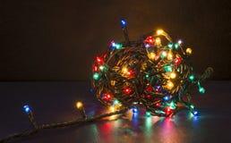 Colorful Christmas lights. Colorful and shiny Christmas led lights Royalty Free Stock Photography
