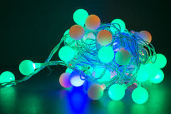 Colorful christmas lights. Shiny leds isolated Royalty Free Stock Photos