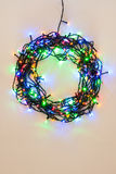 Colorful Christmas lights wreath Royalty Free Stock Photo
