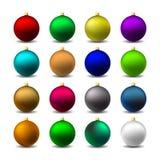 Colorful Christmas Mat Balls. Set 16 Colorful Christmas Mat Balls Royalty Free Stock Photo