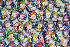 Colorful Christmas Mix Of Honey Cookies , snowman  shaped Royalty Free Stock Photography